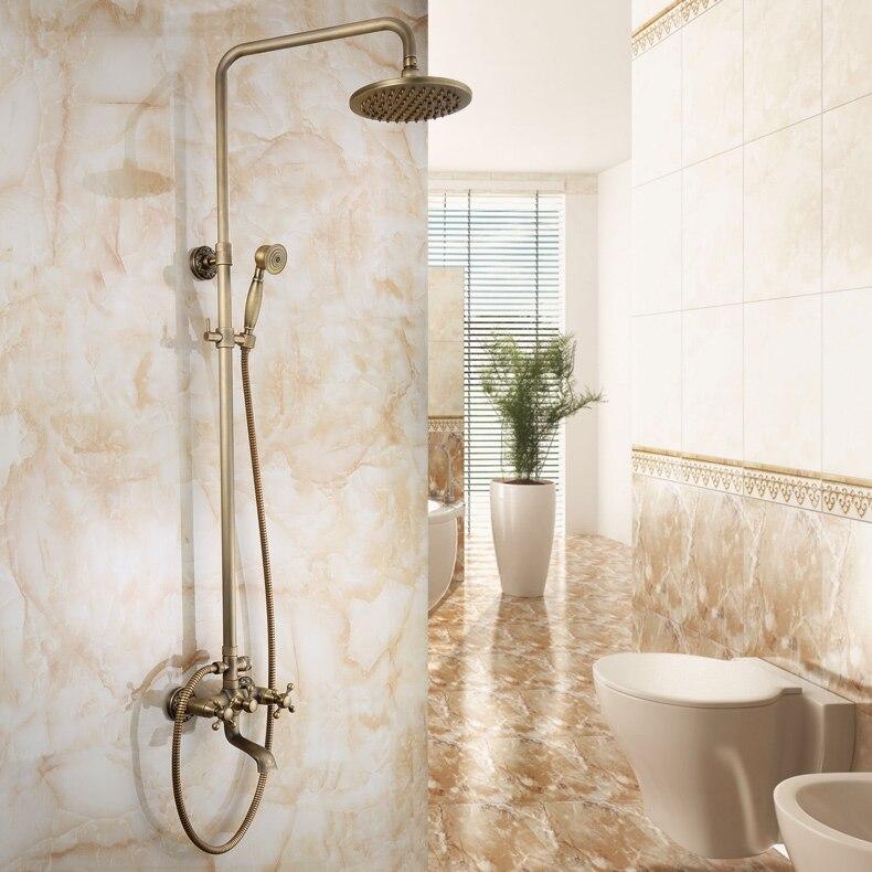 Ensemble de douche Antique mélangeur de douche en laiton robinet de tête de douche brosse robinet de bain robinet de douche produits de salle de bains robinet de pluie de 8 pouces