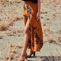 ISHINE cintura alta boho imprimir As Mulheres saia longa maxi divisão saia floral saia impressão praia feminino chic vintage 2017 verão saia
