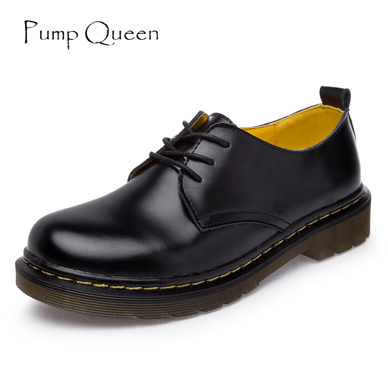 British Style Genuine Leather Oxfords For Women Martin Ankle Shoes Female Spring Autumn Casual Lace-Up Flats Shoes 34-44  fashion british style men s genuine matte leather boot shoes casual lace up male martin ankle chunky booties homme s4472