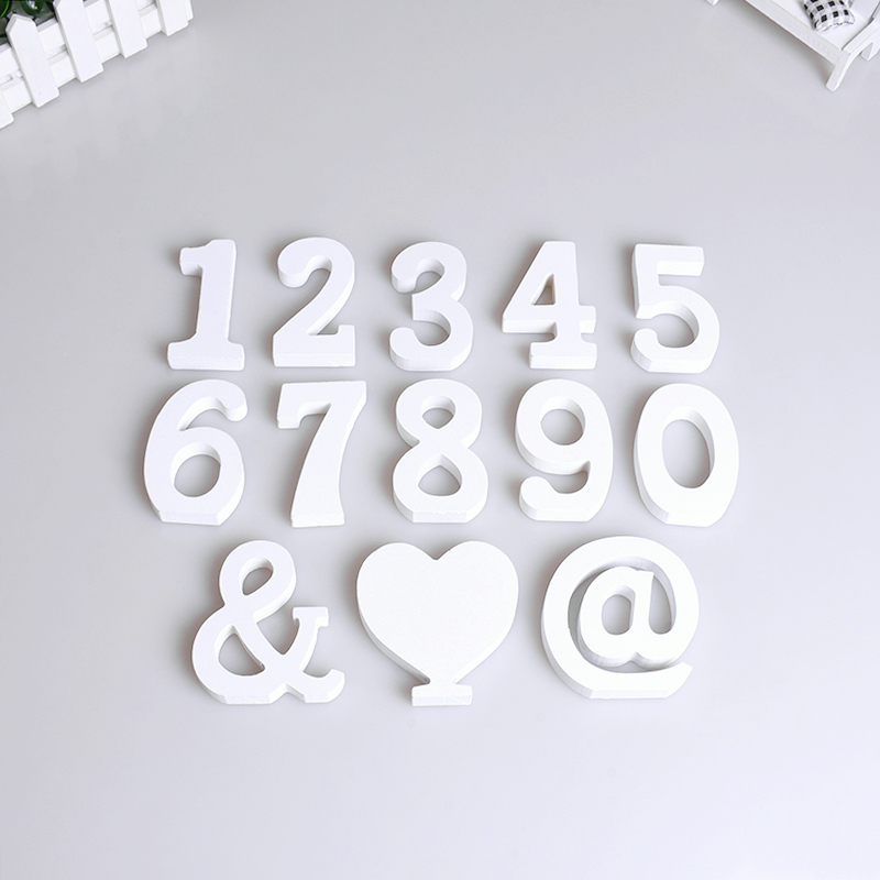1pc Wooden Number Love Letter Word Free Standing Birthday Wedding Party DIY Home Room Decor Supplies Thick Wood Kids Study Gift