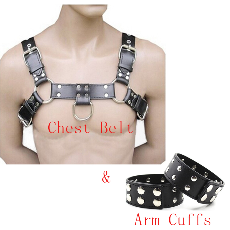 Mens Sexy Bondage PU Leather Chest Harness Belt Gay Buckles Fetish Clubwear With Arm Cuffs Adults Sex Toys For Men