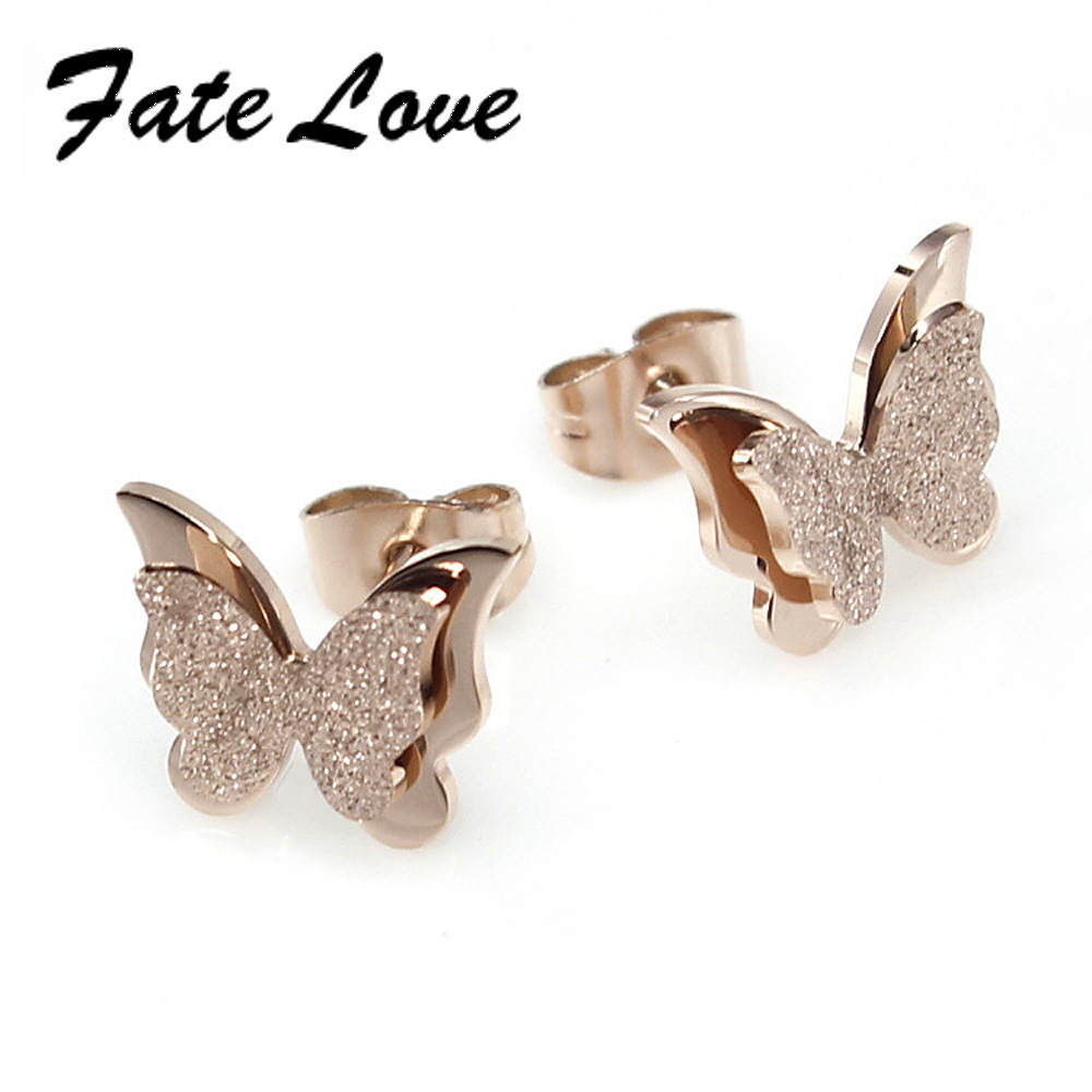 Fate Love Classic Butterfly stud earrings Pure Stainless steel delicate butterfly Stud Earrings Special gift FL283