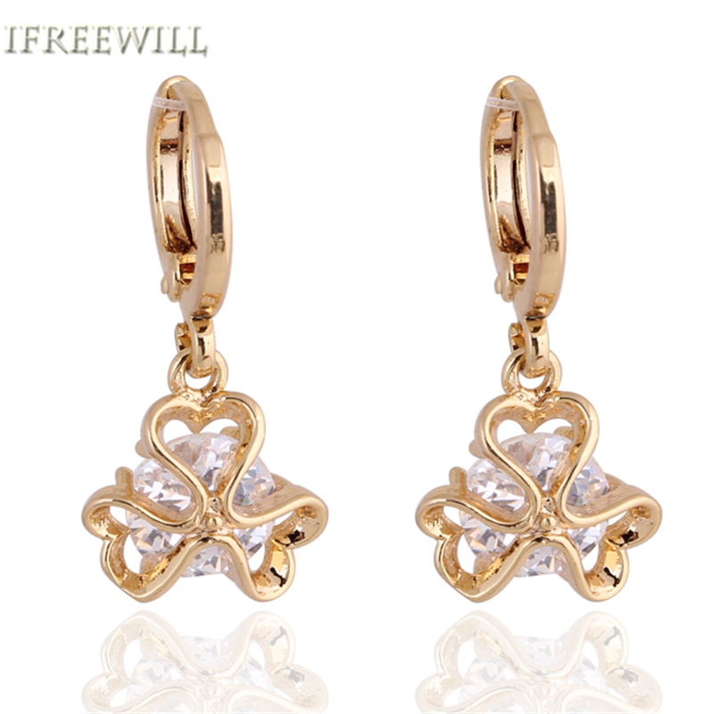 IFREEWILL Official Store IFREEWILL White Crystal women Drop Earrings trendy plant leaf Copper Alloy 2017 Gold-Color Fashion Jewelry Party Gift