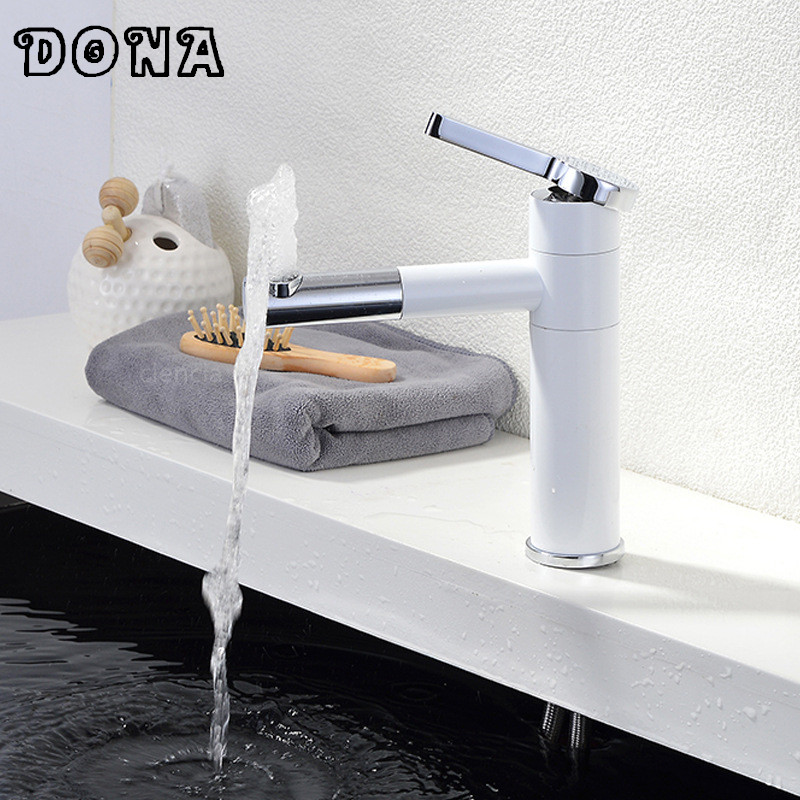Painted Swivel bathroom faucet torneira Single Lever Faucet Bathroom Lavatory Tall Vessel Sink basin mixer tap White DONA2154Painted Swivel bathroom faucet torneira Single Lever Faucet Bathroom Lavatory Tall Vessel Sink basin mixer tap White DONA2154