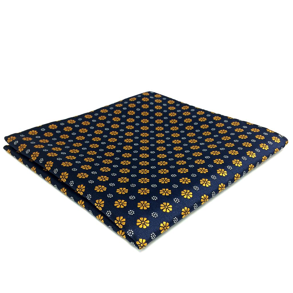 FH18 Mens Pocket Square Blue Gold Floral Handkerchief Business Silk