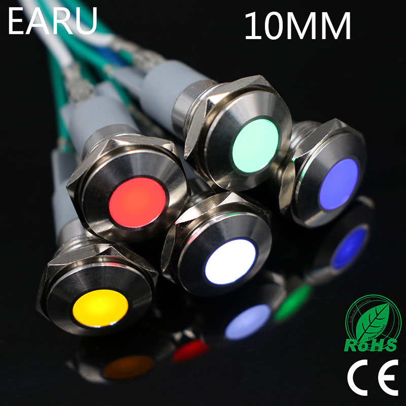 10mm LED Metal Indicator Light Waterproof IP67 Signal Lamp 3V 5V 6V 9V 12V 24V 110V 220V Red Yellow Blue Green White Pilot Seal
