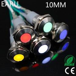 10mm metalowy wskaźnik led Light wodoodporny IP67 lampka sygnalizacyjna 3V 5V 6V 9V 12V 24V 110V 220V czerwony żółty niebieski zielony biały Pilot Seal w Kontrolki od Lampy i oświetlenie na