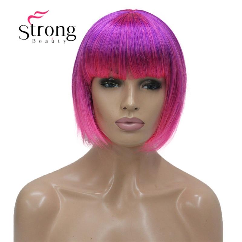 Escolhas de Cor Strongbeauty Rosa Curto Ponto Parte Cosplay Partido Peruca Sintética Cheia Bob