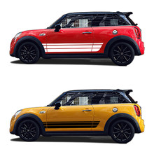2X Car Side Waist Strip Door Vinyl Decal For MINI Cooper Countryman Roadster Paceman R56 R60 R61 F54 F55 F56 3D Graphic Sticker(China)