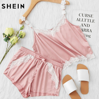SHEIN Pink Lace Trim Satin Spaghetti Strap Cami Top Shorts Pajama Sets Women Sleepwear Sleeveless Pajama