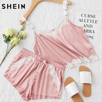 SHEIN Pink Lace Trim Satin Spaghetti Strap Cami Top Shorts Pajama Sets Women Sleepwear Sleeveless Pajama