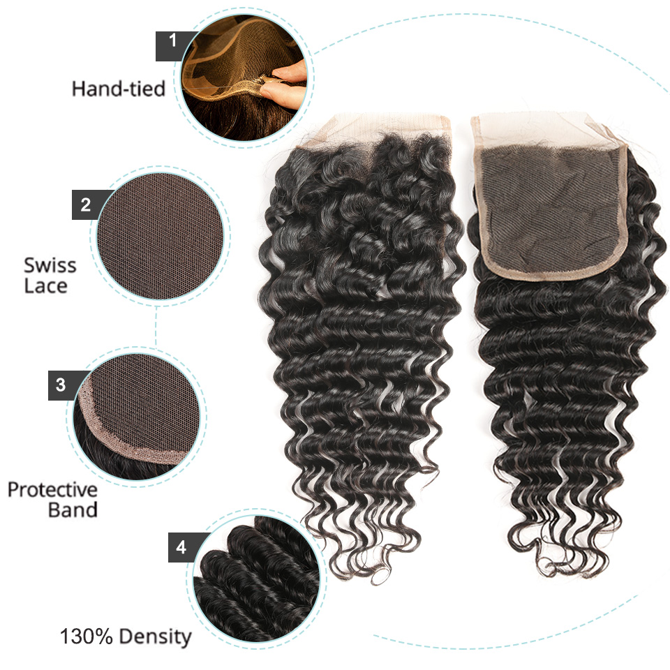 Black Pearl Human Hair Deep Wave Bundler Med Lukning Non-Remy - Skønhed forsyning - Foto 4