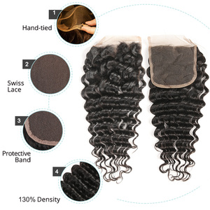 Image 4 - Czarne perły zestawy z głębokimi falami z zamknięciem Remy malezyjskie włosy 30 Cal zestawy z zamknięciem 3 wiązki z zamknięciem ludzkie włosy