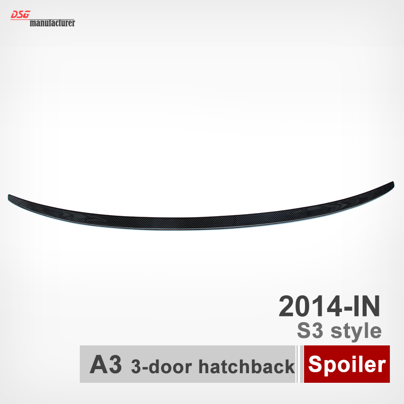 A3 S3 Style Carbon Fiber Rear Spoiler For Audi A3 2014 2015 2016 Rear Trunk Back Wing 3-Door Hatchback mercedes w211 carbon fiber amg look spoiler back trunk rear wing for benz e class w211 2003 2009 e320 amg style spoiler