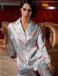 Женские пижамы из чистого шелка 19 мм с цветочным принтом женские пижамы Топ и низ набор Размер M L XL