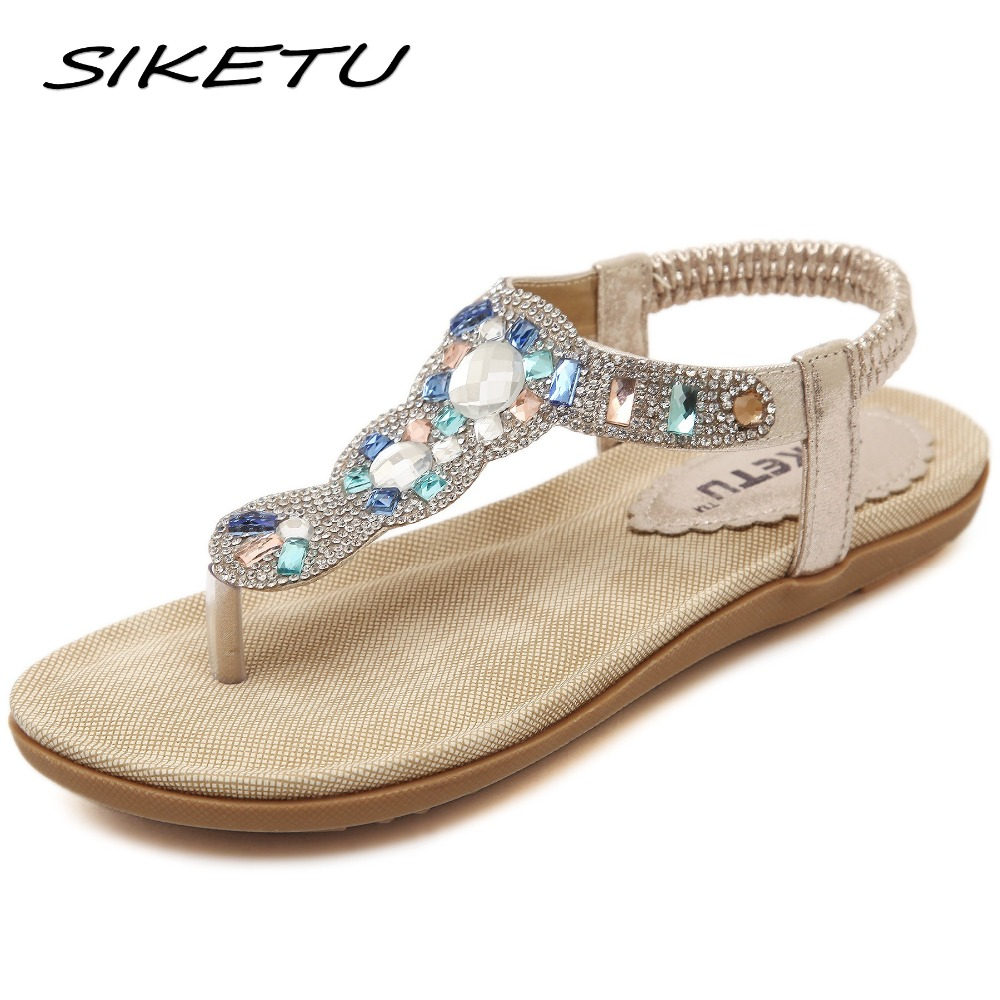 SIKETU New summer Bohemia sandals shoes woman fashion rhinestone flip flop beach soft flat sandals Elastic band size 35-41 bohemia plus size 34 41 new fashion wedges sandals slip on elastic band casual platform shoes woman summer lady shoes shallow