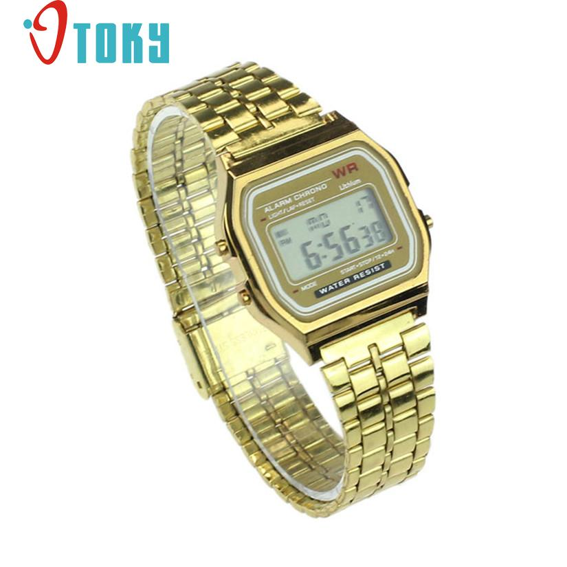 Hot hothot Womens Men Watch Stainless Steel Digital Alarm Stopwatch Classic Silver Gold WristWatch Men nv7 Dropshipping hot hothot sales colorful boys girls students time electronic digital wrist sport watch free shipping at2 dropshipping li