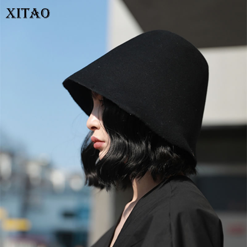 [XITAO] Wild Joker Fashion New Women Bucket Hats Female Solid Color Casual Restore Ancient Ways Campaniform Hats ZLL3001
