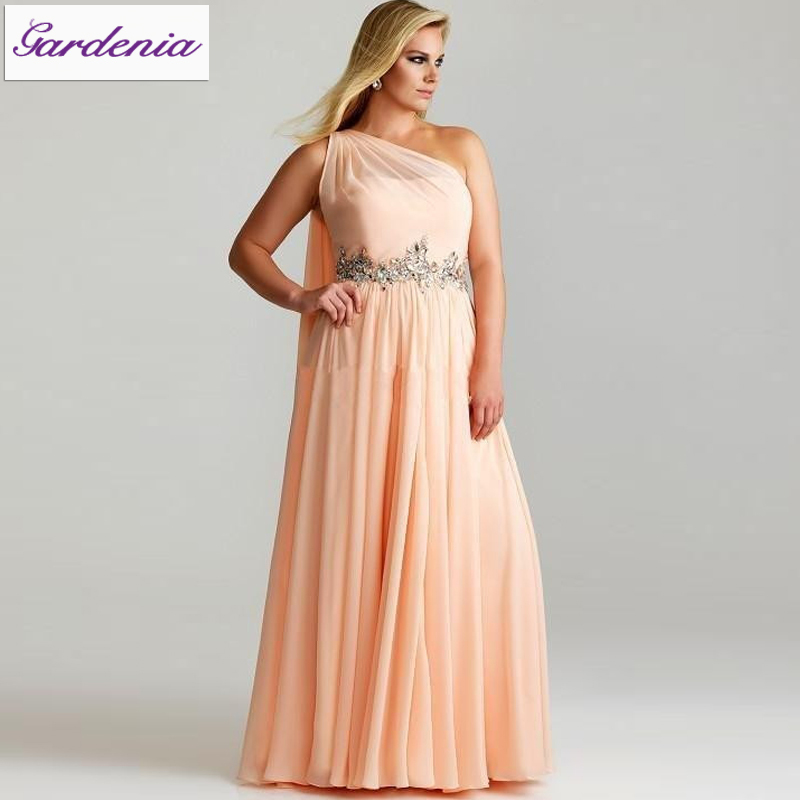 2015 Fashion Prom Dress for Big Ladies One Shoulder Women Party ...