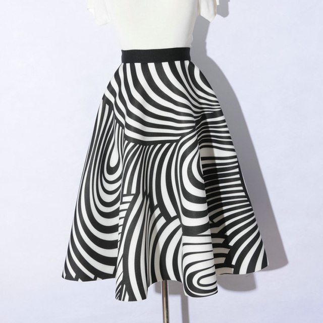 New Thick Autumn Midi Skirt Elastic Waist Ink Floral/Marilyn Monroe/Zebra Striped Print Flare Pleated Middle-Long Puffy  Skirts