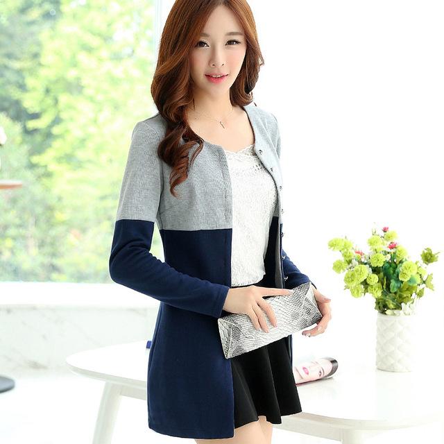 Mulheres casaco de lã primavera e no outono casuais costura camisola de malha jovem menina longas blusas 5311 plus size M-4XL