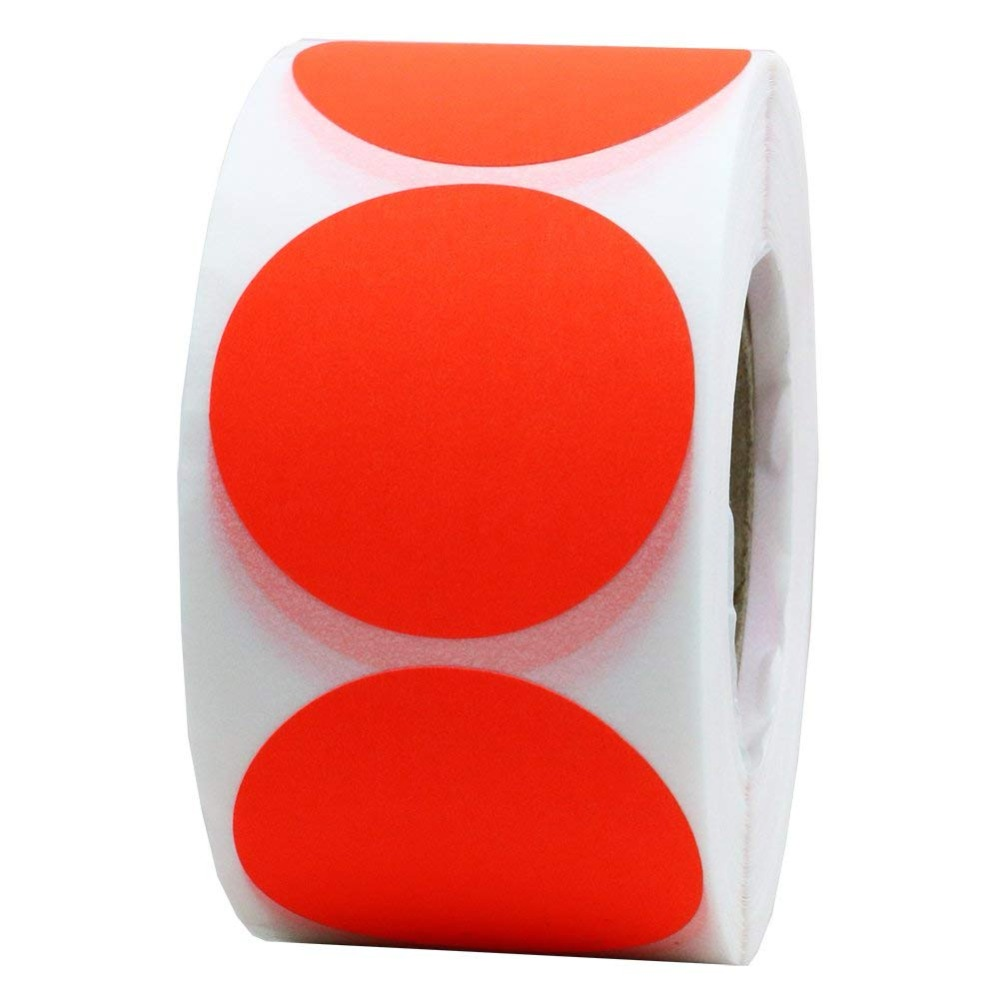 2*2 Inch Fluorescent Red Blank Target Pasters For Shooting 500 Adhesive Target Stickers Per Roll