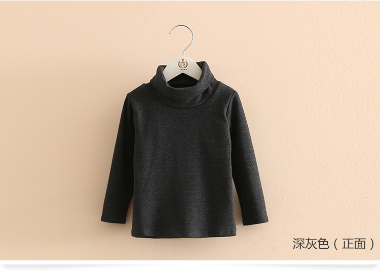 2018 Spring Autumn 2-10T Years Children'S Candy Color Sweet Long Sleeve High Neck Unisex Kids Girl Boy Basic Turtleneck T-Shirt (18)