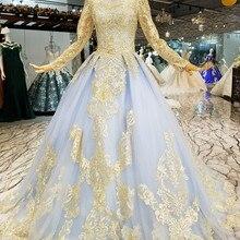 eff3c59874 AXJFU księżniczka niebieski koronki z długim rękawem w stylu vintage suknia  wieczorowa luksusowe frezowanie kwiat illusion