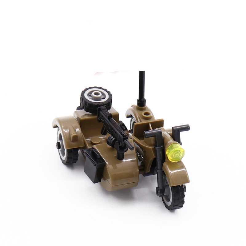 クリエーター軍事粒子アクセサリーオートバイ三輪車漫画車レンガセットビルディングブロックの子供のおもちゃ軍事クリエイター市キット