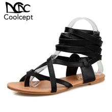 Coolcept Size 30-50 Women Shoes Classic Design Gladiator Sandals Women Flat Shoes Bohemia Lace-Up Sandals Women Sandals PA00608