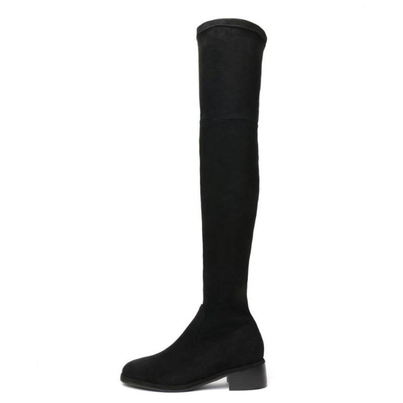 Elástico Talla Mujeres 34 Rizabina Sexy Negro Real Calzado Cuero Altas Alto gris Invierno Las Piel De Tacón 39 Zapatos Botas Rodilla awOxqTw5