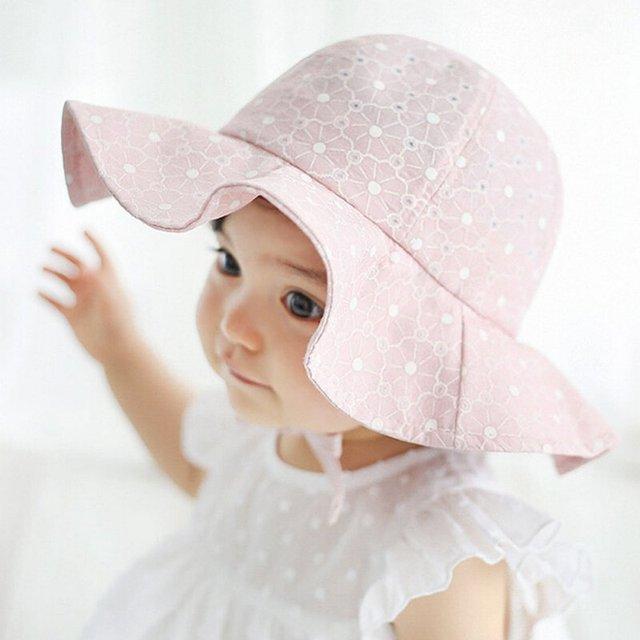 Infant Summer Outdoor Baby Girl Visor Cotton Sun Cap Floral Print Pink White Beach Bucket Hats