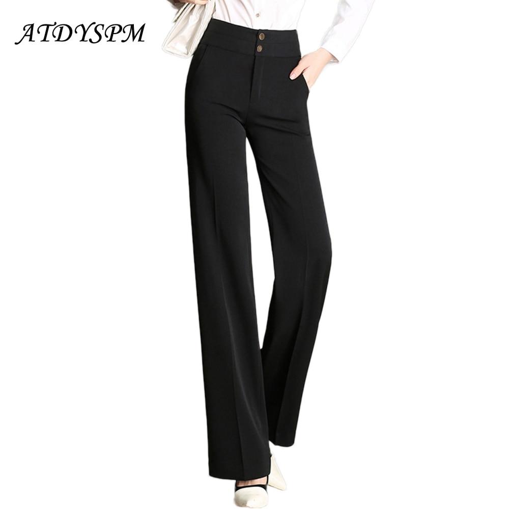 ATDYSPM Women   Wide     Leg     Pants   Trousers Plus Size High Waist Straight Casual   Pants   Female Elegant Office Loose Suit   Pants   Pantalon