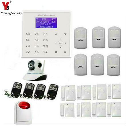 Yobang Security Android+IOS APP WIFI GSM Alarmes HD IP Security Camera Red Strobe Siren Alarm Home IR Infrared Motion Sensor 3g wireless home security wifi ip camera alarm infrared motion detector pir sensor h 264 720p android ios app night version jh09