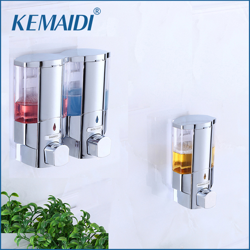 KEMAIDI Shampoo Shower Soap Dispenser Hand Powered 300ml Wall-Mount Kitchen Soap Lotion Pump Kitchen Bathroom Soap Dispenser powdercoat white kitchen bathroom soap lotion dispenser