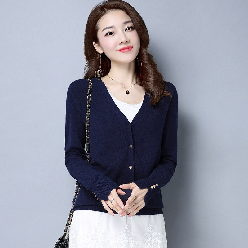 Womens Cardigan Knitted Sweater Long Sleeve Crochet Female Cardigan With Buttons Short Sweater Women Cardigans 0106-75