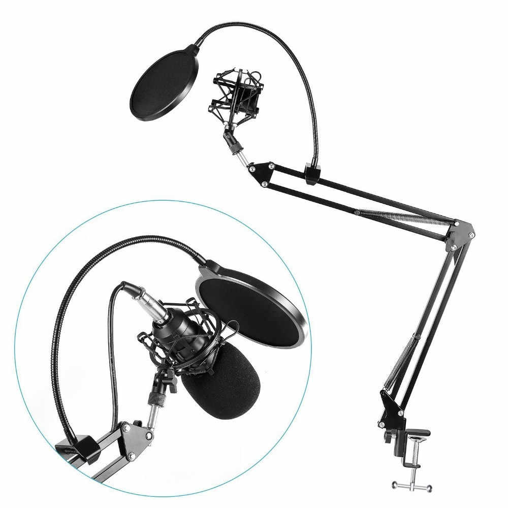 Professional Metal Extendable Recording Microphone Stand Tripod Boom Scissor Arm Holder & Metal Shock Mount + Filter for Mic
