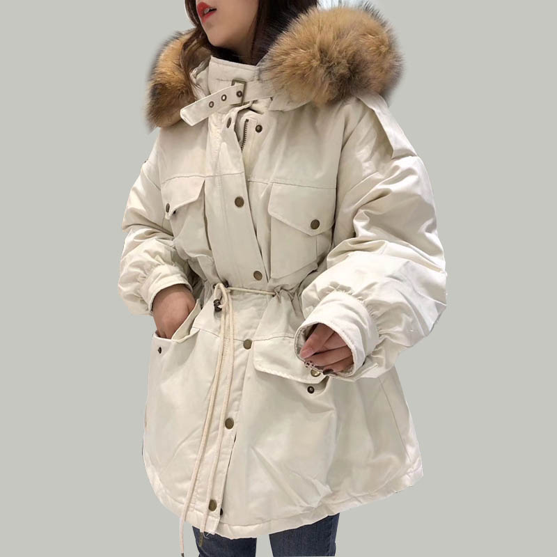 Winter Jacket Women Hooded 2019 White Duck   Down   Parkas Medium Long Slim   Coats   Large Real Raccoon Fur Collar Warm Pink Outwear
