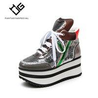 IGU/женские ботинки, повседневная обувь для женщин, Лидер продаж, Ins High Street, обувь с толстой подошвой, женская обувь на платформе с блестками,