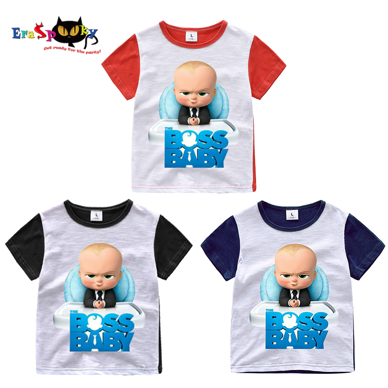 Eraspooky 2-8 Year Cartoon Movie The Boss Baby T Shirt Short Sleeve Top Boys Kids Toddler Cotton Carnival Birthday Party Clothes