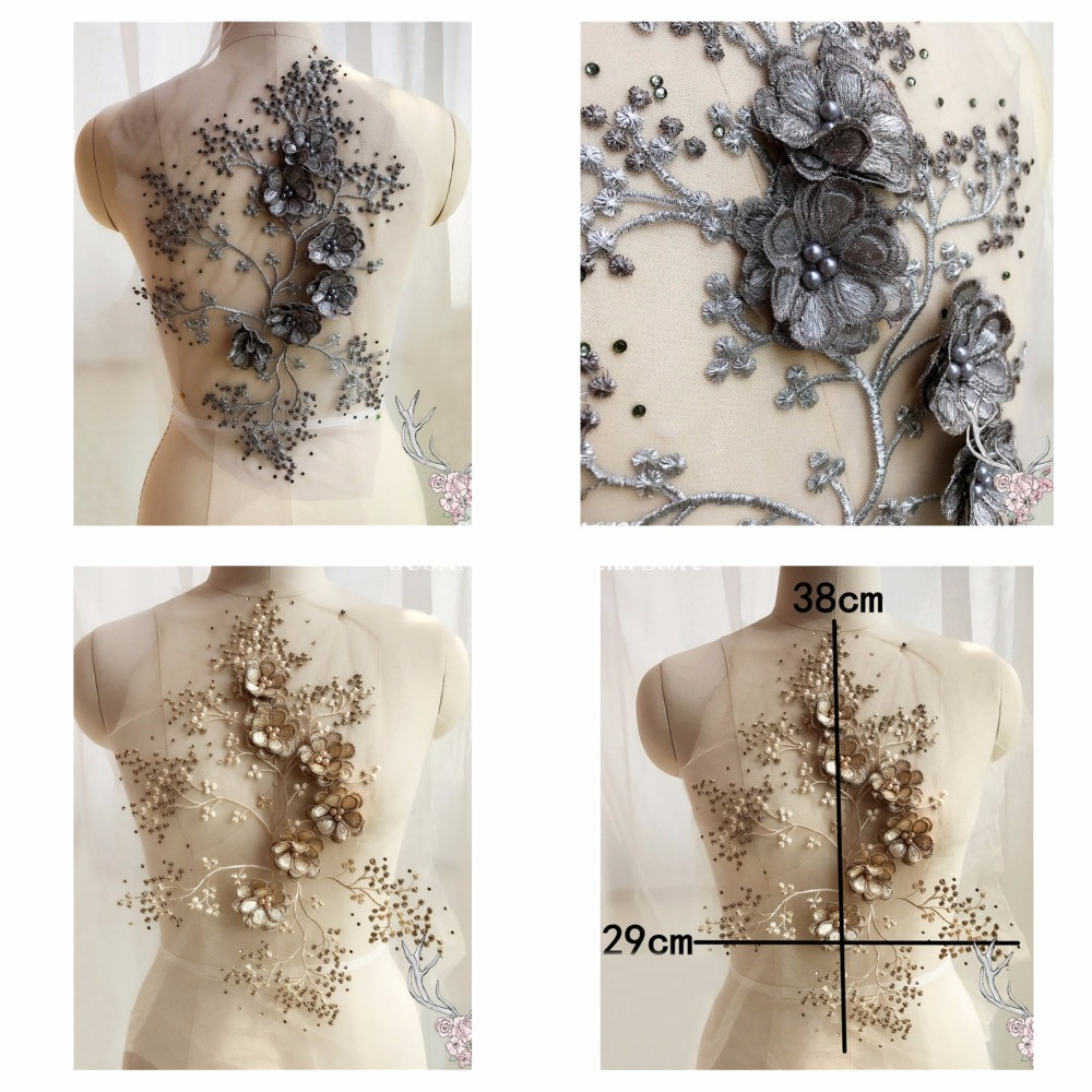 3d Flower Embroidery Patches Beaded Pearled Lace Appliques Collar Dance Costume Decoration 1pc Mds12 Strong-Willed New 2colors champagne Grey