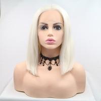 Fantasy Beauty Platinum Blonde Bob Cut Short Heat Resistant Fiber Synthetic Lace Front Short Wigs For Women Replacement Wigs