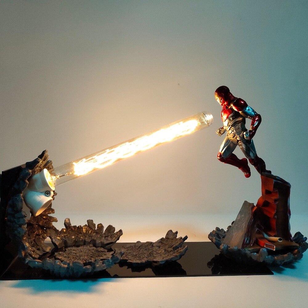 Figurine homme de fer MK47 canon Laser LED lampe de Table figurines d'action Anime The Avengers Endgame Figurine homme de fer Diorama jouets