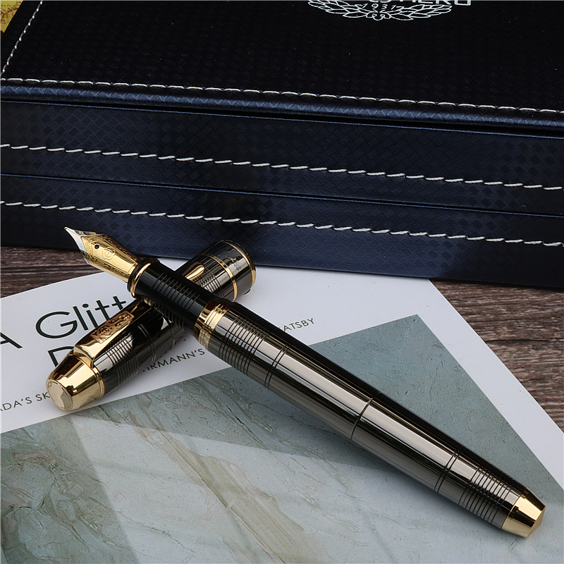 Gift Fountain Pen Fashion New Style Dark Grey Ink Pen Office And Learning Luxury Writing Metal Pen