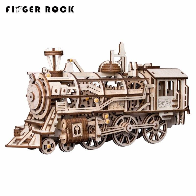 Doigt Rock 3D en bois mécanique engrenage entraînement Train Locomotive assemblage Puzzles jouets bricolage éducatif 3D Puzzles pour les enfants