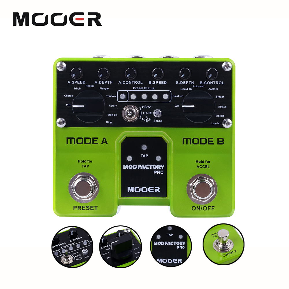 Mooer Mod factory Pro Modulation Guitar Effect Pedal with 16 Modulation Effects Adjustable Signal Chain Routing mooer mod factory modulation electric guitar effects pedal true bypass with free connector and footswitch topper