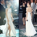 2015 white halter Emma Watson red carpet celebrity dresses 2014 sleeveless side slit A line long backless party gowns