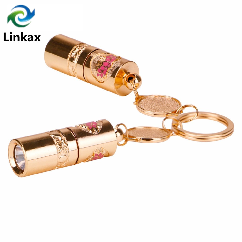 2 PACK KEYRING TORCH SUPER BRIGHT LED 10CM AMBER SILVER CAMPING FLASHLIGHT