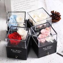 Розовый сохраненный цветок коробка для ювелирных изделий свадебный сувенир День Святого Валентина подарок День святого Валентина День рождения красивый подарок для матери