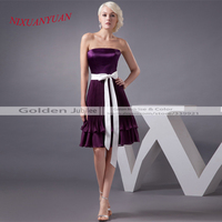 Custom Mde Purple Cocktail Dress Knee Length Dress Party Satin Sashes Strapless Bridal Gowns A Line